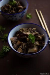 Dziki ryż z grzybami i pietruszką