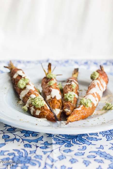 roasted carrrots with carrot top pesto