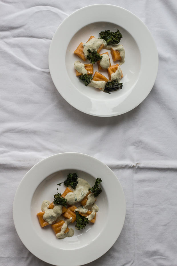 Sweet potato gnocchi with almond sauce