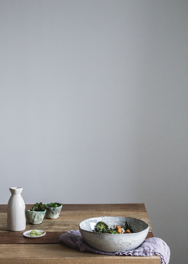 ramen z grzybami, dynią i jarmużem