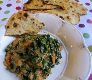 Duszona zielenina z chapati