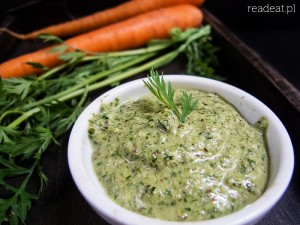 Pesto made of carrot greens