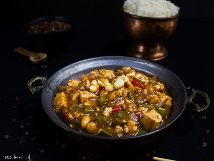 Szechuan tofu with green pepper and peanuts
