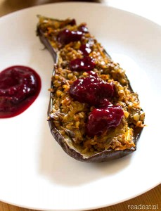 Autumn aubergines with buckwheat and plum sauce