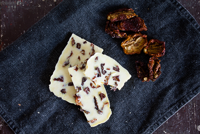 vegan white chocolate with sun-dried tomatoes