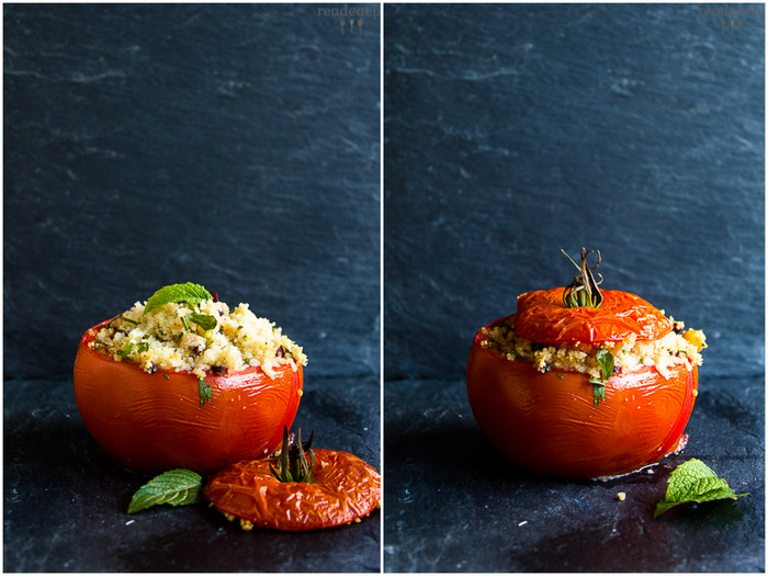 stuffed tomatoes with couscous and tahini
