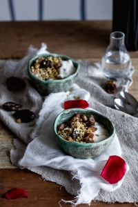 Rose water granola with pistachios and dates