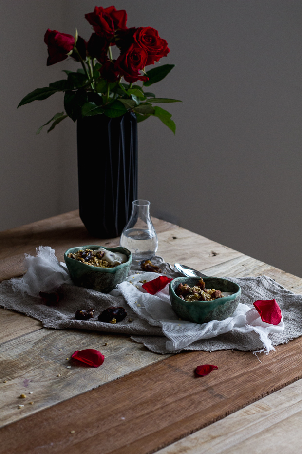 rose water granola with dates
