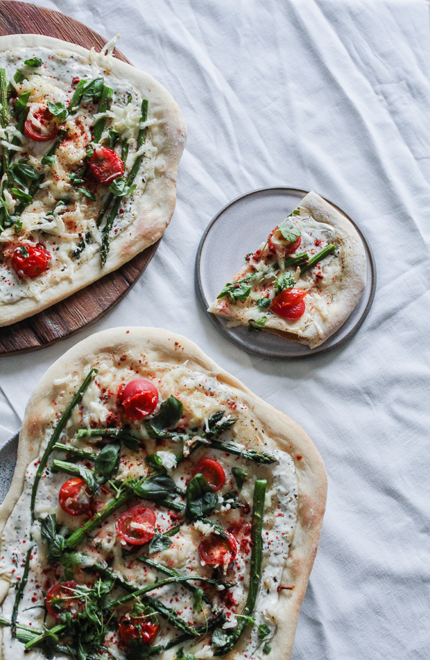 vegan pizza with asparagus