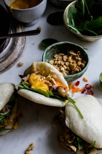 Vegan bao buns with hoisin oyster mushrooms