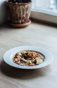 Risotto with chanterelles and tomatoes